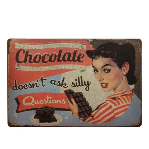 """Chocolate Doesn't Ask Silly Questions"" Vintage Bar/Restaurant/Diner Sign, Pub Decoration"