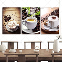 Coffee Beans, Cafe Scenes 3 Panel Kitchen Wall Art