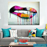 Colorful Dripping Lips Painting
