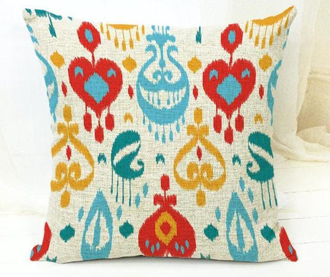Colorful Embroider Style Tribal Pattern Throw Cushion Cover