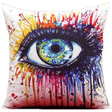 Colorful Paint-Splatter Human Eye, Sexy Girl Parts Throw Pillows