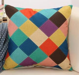 Colorful Patchwork Geometric, Retro Pattern Throw Pillows