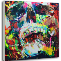 Colorful Skull Hand Painted Oil Painting