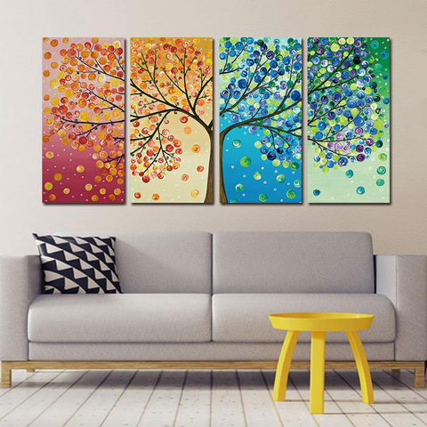 Colorful Trees Canvas Painting Set