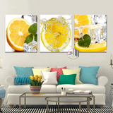 Lemon Splash 3 Panel Kitchen Wall Art