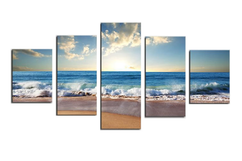 Beautiful Beach Scene, Waves Crashing Art Panel Set