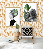 Nordic Style Black & White with Green Surrealism Wall Art, Woman with Plant Figures Headdress
