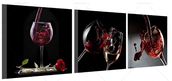 Red Wine and Roses 3 Panel Kitchen Wall Art