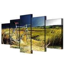 Countryside Field with Vintage Bicycle 5 Piece Wall Painting Set, Panels