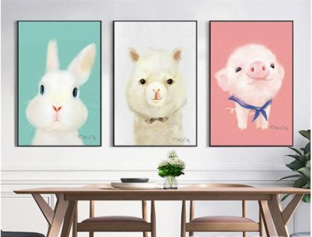 Cute Modern Animal Characters Canvas Art Set