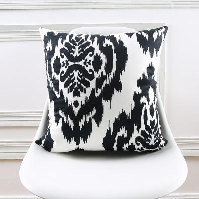 Damask Pattern Black White Accent Pillow