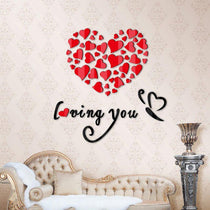 "DIY Heart Wall Art, Mirror and ""Loving You"" Phrase for Wall Decor"