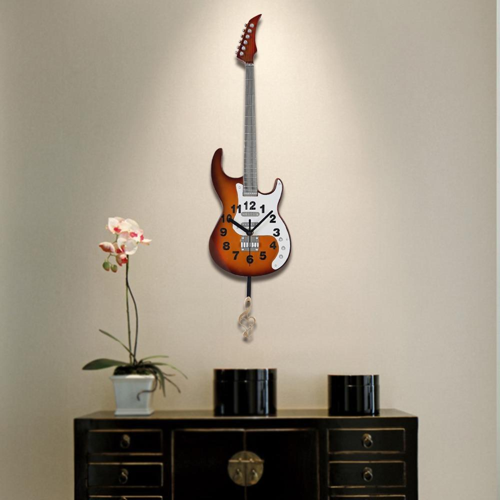 Electric Guitar Musical Clock for Wall Decoration Hand-crafted /& painted