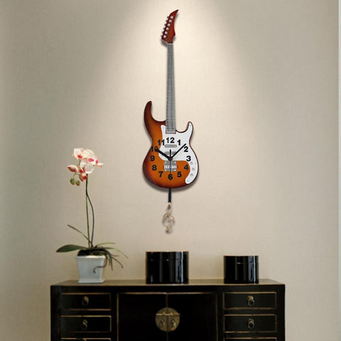 Electric Guitar Musical Clock for Wall Decoration, Hand-crafted & painted