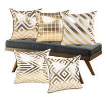 Elegant Gold Patterned Throw Pillows