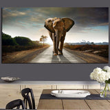 Elephant in Landscape Large Horizontal Canvas Art