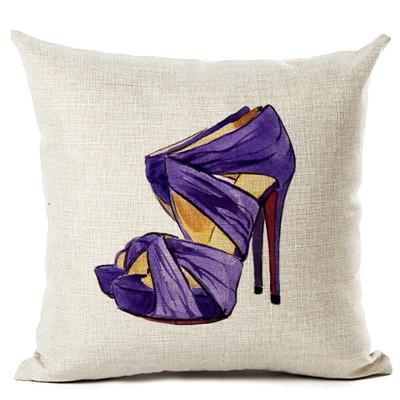 Fashion High-heeled Shoes Throw Pillow, Purple and Black