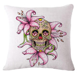 Flower Punk Style Mexican Skull Pillow Covers