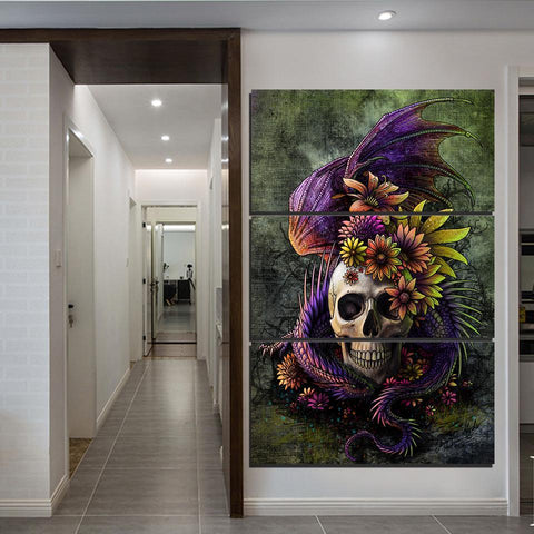 Flowery Skull Girly Goth 3 Piece Canvas Wall Art