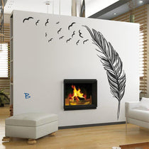 Flying Feather Large Wall Decal in Black or White