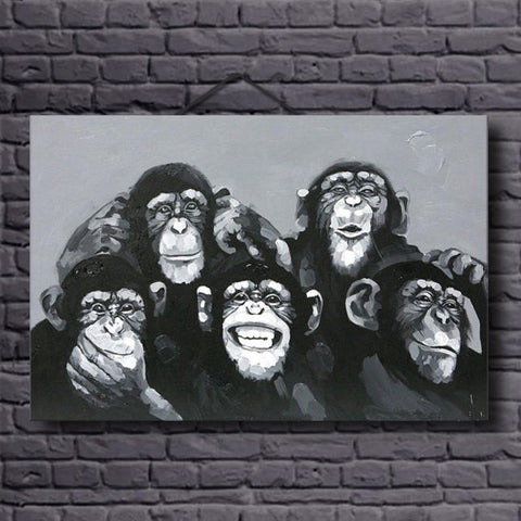 Funny Monkey Family Portrait Painting on Canvas, Large Artwork