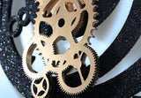 Gear Wall Clock with Scrambled Numbers, Black and Gold