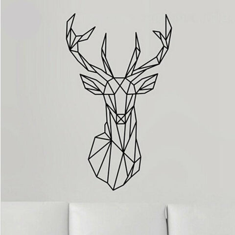 Geometric Deer Head Wall Sticker Vinyl