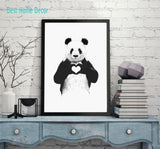Giant Panda Love Heart Wall Art, Black and White Decor