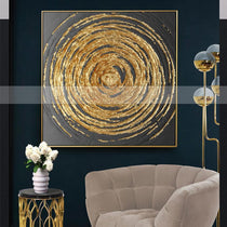 Gold Abstract Circles Canvas Painting