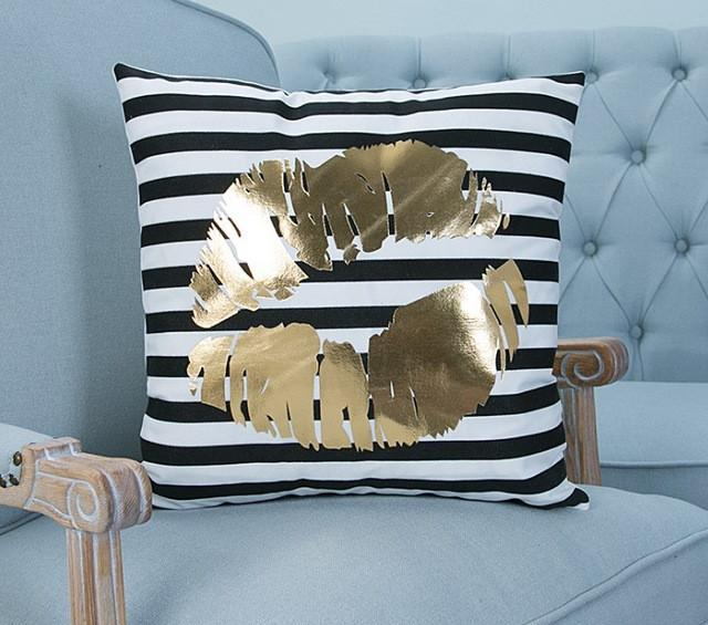 Gold Lips on Velvet Throw Pillow