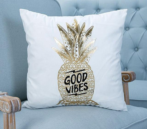 Gold Pineapple on Velvet Accent Pillow
