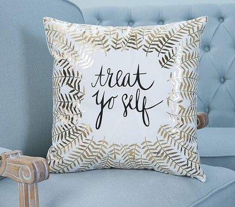 Gold Treat Yo Self Quote on Velvet Accent Pillow