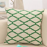 Green Lattice Patternn Throw Pillows
