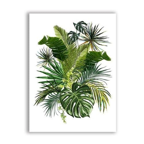 Green Tropical Plants Leaves Canvas Art Print, Botanical Wall Art