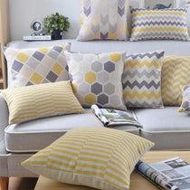 Grey And Yellow Geometric Cushion Covers