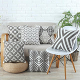Grey Embroidered Pattern Cushion Covers