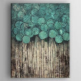 Hand-painted Modern Oil Abstract, Turquoise Artwork