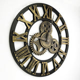 Handmade 3D Gear Wall Clock, Retro Large Vintage Industrial Style Home/Loft Decor