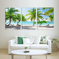 Hawaiian Scene Artwork, Beach and Palm Tree 3 Piece Canvas Set