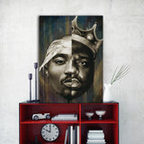Hip Hop Wall Art, 2 Pac and Biggie Half and Half Portrait Canvas Art, Framed or Unframed