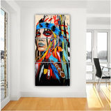 Indian Girl Colorful Feathers 3 Piece Canvas Set, Stretched Canvas Optional