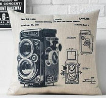 Industrial Style Throw Pillows, Vintage Rolleiflex Camera Design
