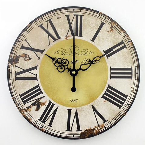 Large Round Vintage Style Wall Clock Rouse the Room