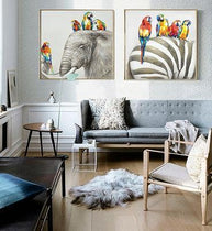 Jungle Animals Elephant Zebra and Parrots Art Set, Oil Paint on Prints