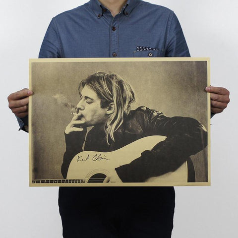 Kurt Cobain with Guitar and Cigarette, Nirvana Rock Poster
