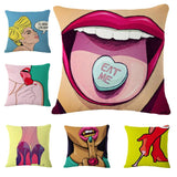 Lady GaGa Pop Animation Art Throw Pillows, Roy Lichtenstein