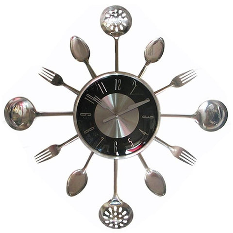 Large Cool Retro Kitchen Utensils Wall Clock