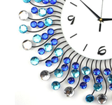 Large Fashion Wall Clock with Sunburst Shape and Jewels