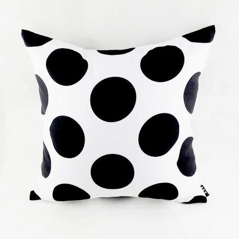 Large Polka Dot Pattern Accent Cushion Cover, Black and White
