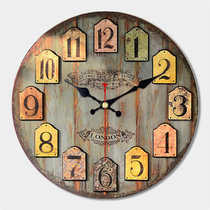 "Large Rustic Wood Wall Clock, 16"", Worn Blue/Grey Background"